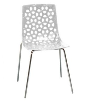 TESS CHAISE CHROME/PVC BLANC