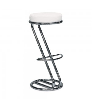 PATTI / AZAIS TABOURET DE BAR CHROME BLANC